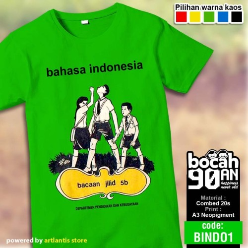 Foto Produk Kaos Jadul Buku BAHASA INDONESIA by Artlantis Store - XS dari uniqverz