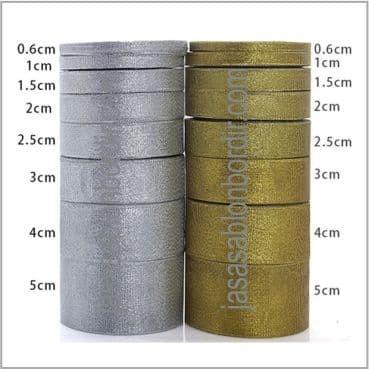 "Foto Produk Pita Emas Perak Glitter 3/8"" atau 1cm - SILVER dari JASA SABLON BORDIR"