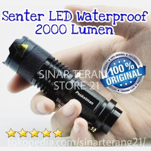 Foto Produk Pocketman Senter Mini LED CREE Waterproof 2000 Lumen Swat Police SP dari TOKO SINAR TERANG