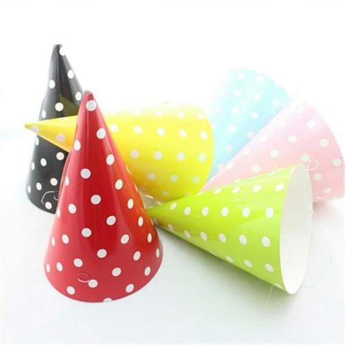 Foto Produk TOPI ULANG TAHUN KERUCUT POLKADOT perlengkapan pesta ultah birthday dari ghofuraa shop