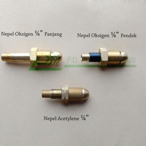Foto Produk Nepel Oksigen 1/4 (Short) Kuningan dari PUTRA MANDIRI HYDRAULIC