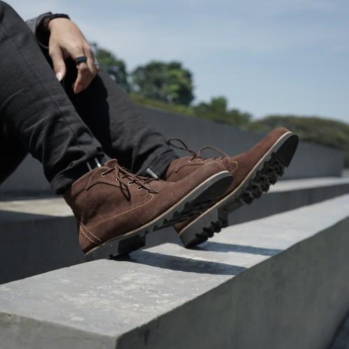 Foto Produk SEPATU BOOTS PRIA COKELAT CASUAL EASTON Brown 100% MIRIP FOTO dari Bokangco Store