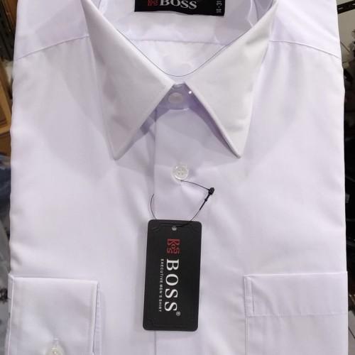 Foto Produk Kemeja Pria Boss Panjang Putih Reguler XXL Besar 17 17.5 - Putih, XXXL dari Mega Hero Shirts