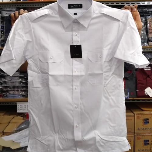 Foto Produk Alisan Kemeja Putih Pangkat Kantong Dua Pendek Pilot Dinas - Putih, XL dari Mega Hero Shirts
