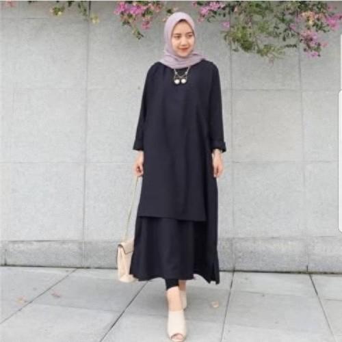 Foto Produk Grosir Baju Murah/Jual Dress Murah/Terbaru/CAREY TUNIK BLACK PR001 dari roshma fashion