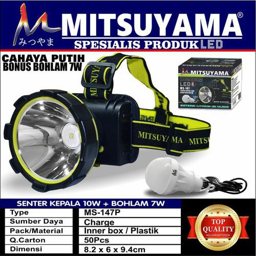 Foto Produk Senter Kepala Headlamp LED Cahaya Putih 10 W Bohlam Mitsuyama MS-147P dari Mega Shop2016