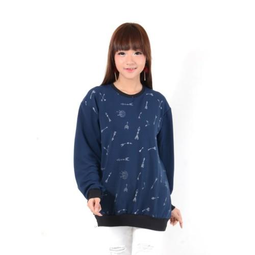 Foto Produk dnb - Baju Atasan Sweater Wanita / Motif Panah / Navy dari dnb.Shop