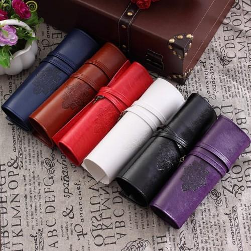Foto Produk Leather Travel MAKEUP BAG for Brush and all purpose - Tas kuas 5warna dari twindshop