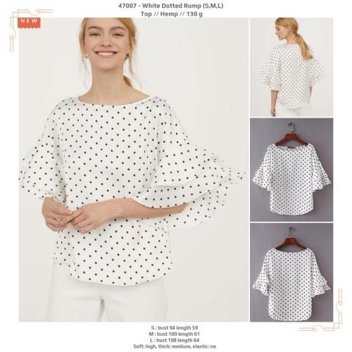 Foto Produk 47007 White Dotted Rump Blouse / Blouse Putih Polkadot dari XineShop