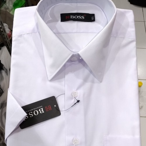Foto Produk Kemeja Pria Putih Pendek Boss Reguler - Putih, S dari Mega Hero Shirts