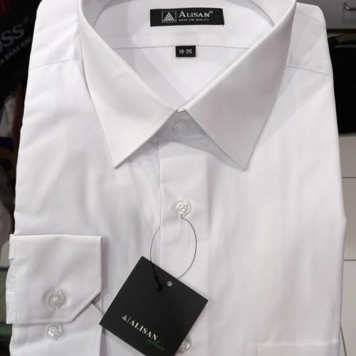 Foto Produk Kemeja Pria Alisan Putih Panjang Polos XXL 17 , 17.5 - Putih, XXL dari Mega Hero Shirts