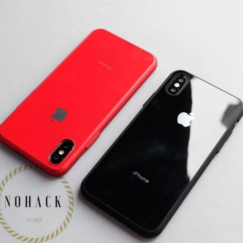 Foto Produk Glass mirror cool case ip iphone 6 6s 6+ 6 plus 7 8 + X HARD luxury - BLACK, 6 6S dari Caseayangan ID