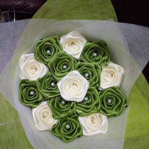 Foto Produk buket bunga satin handmade mawar mini hadiah wisuda ultah valentine dari putria-
