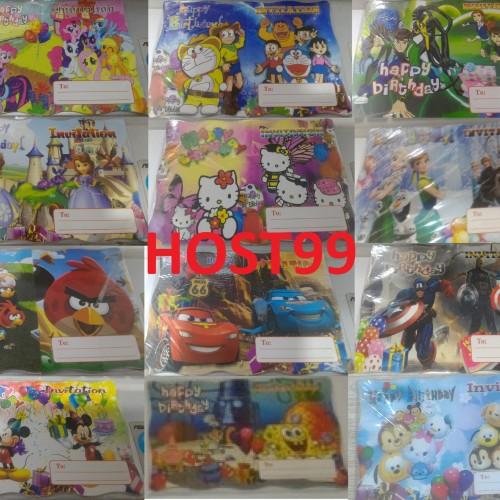 Foto Produk KARTU UNDANGAN ULANG TAHUN ULTAH LIPAT KARAKTER CHARACTER dari HOST99