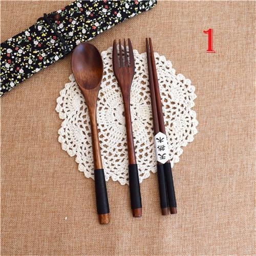Foto Produk Set Sendok Garpu Sumpit bahan Kayu gaya Korea dari Kaedake Shop
