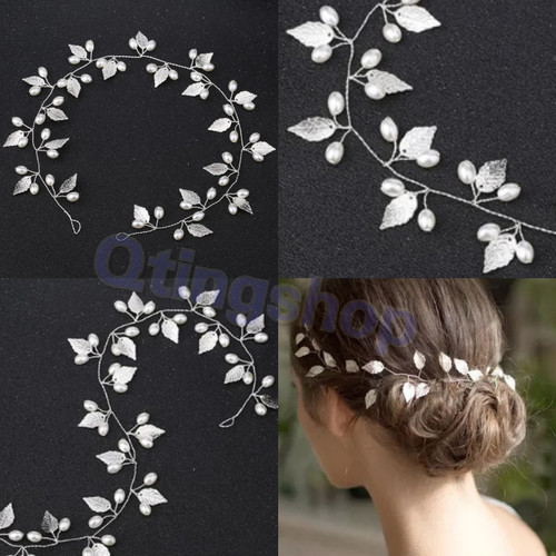 Foto Produk Hairpiece hiasan aksesoris rambut pesta model daun silver dari QTINGSHOP