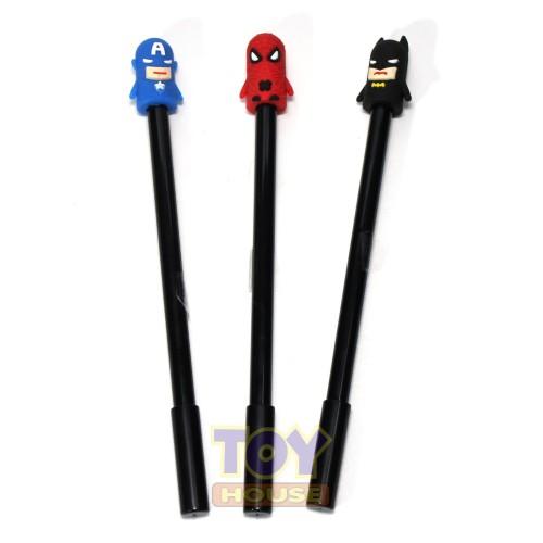 Foto Produk Pulpen Gel Spiderman, Capt. America, Batman Kepala Karet 0.38mm dari toy house