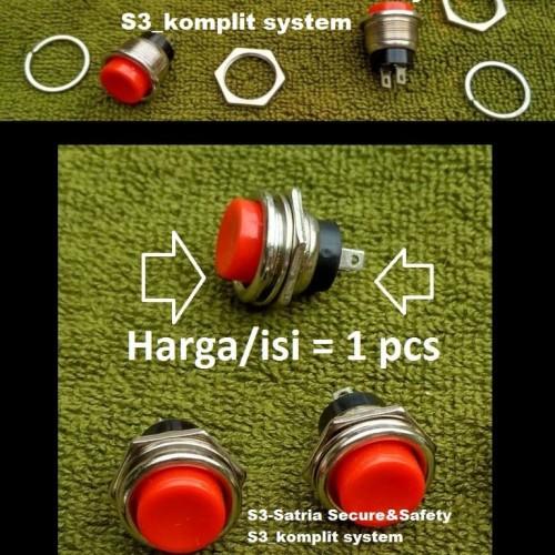 Foto Produk Tombol Besar Bulat merah Push On momentary push button switch saklar dari S3-Satria Secure&Safety