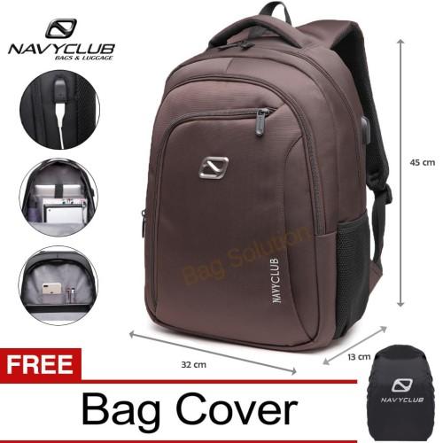 Foto Produk Navy Club Ransel Laptop built in USB Charger Upto 15inch Free BagCover - coklat dari Bag Solution