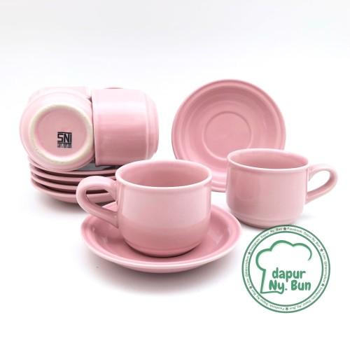 Foto Produk 6 Pasang Cangkir Set / Cangkir + Saucer Nikura / Cangkir Teh / Cangkir - Merah Muda dari Dapur Ny.Bun