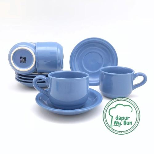 Foto Produk 6 Pasang Cangkir Set / Cangkir + Saucer Nikura / Cangkir Teh / Cangkir - Ungu dari Dapur Ny.Bun