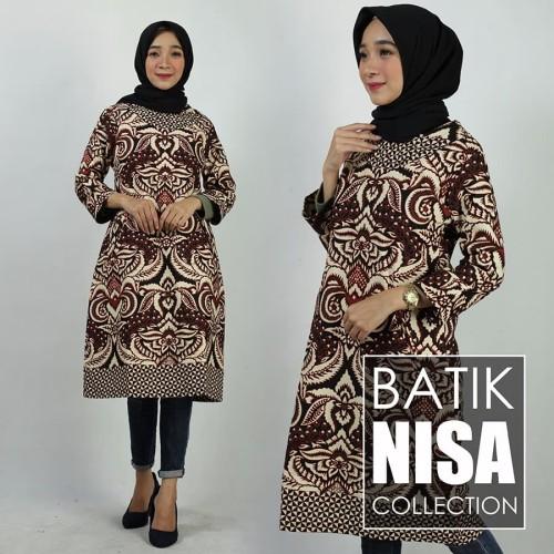Foto Produk Baju Batik Dress Terusan Wanita Daun Coklat Katun Cap Etnik - Cokelat, XXL dari Batik Nisa Colection