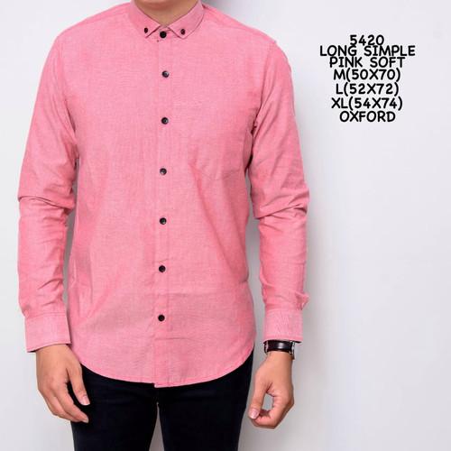 Foto Produk Kemeja Polos Pria Pink Simple | Baju Pria Lengan Panjang Polos - M dari ALJOSA