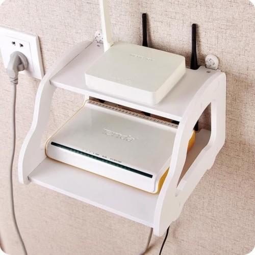 Foto Produk RAK GANTUNG DINDING MINIMALIS VINTAGE TEMPAT PAJANGAN BUKU F32 - Putih dari LimLimShopp