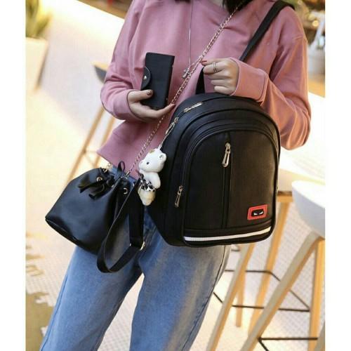 Foto Produk Paket Tas Ransel Wanita 1 Set 3in1 / Tas Murah Best Seller - PENDI - Hitam dari HayBag'S