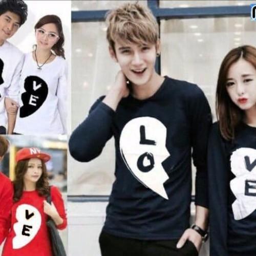 Foto Produk kaos couple black love lengan panjang - baju pasangan dari Grosir Baju Couple :)