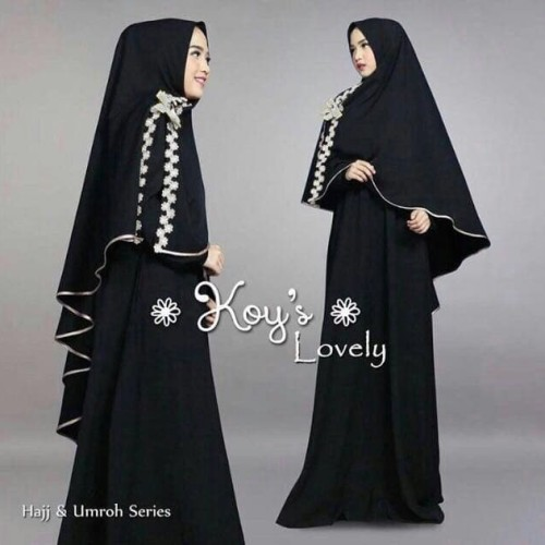 Foto Produk [LOVELY SYARI BLACK NI] gamis muslim wanita jersey hitam dari FASHIONISTA's GROSIR