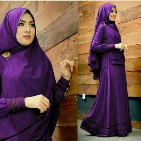 Foto Produk [syfarose juwet NI] gamis wanita muslim jersey ungu dari FASHIONISTA's GROSIR