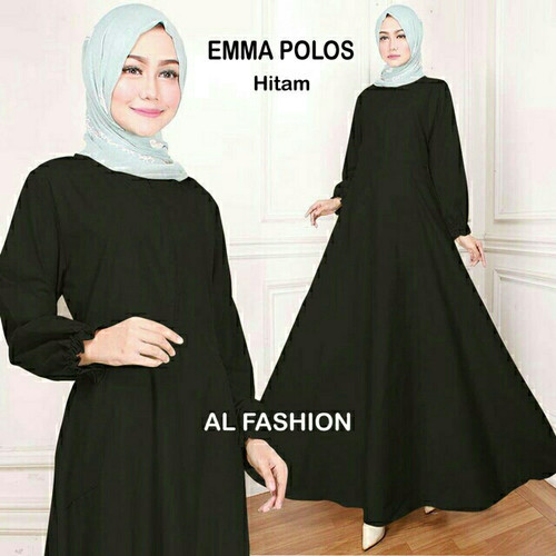 Foto Produk Maxi Emma Polos Hitam Baju Muslim Wanita Gamis Model Kekinian Terbaru dari Risna shop