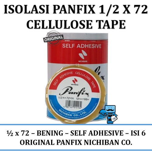 Foto Produk Isolasi Panfix 1/2 X 72 Cellulose Tape (isi 6) dari Das Livia Computer