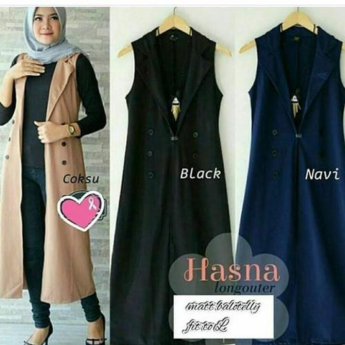 Foto Produk Hasna long outer / pakaian wanita / vest terbaru / cardigan / rompi dari Senshi group store bdg