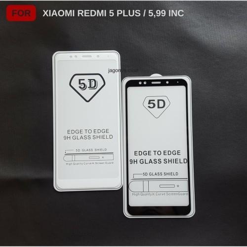 Foto Produk Tempered Glass 5D Xiaomi Redmi 5 Plus Full Cover Ambigo - Hitam dari Jagonya Case