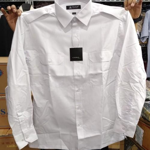Foto Produk Kemeja Pria Alisan Putih Kantong Dua Pangkat Dinas Lengan Panjang - Putih, L dari Mega Hero Shirts