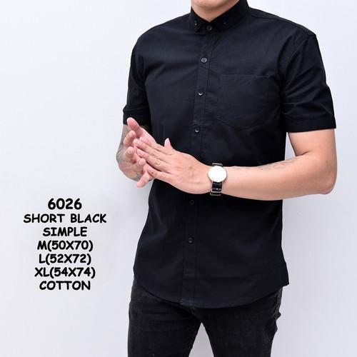 Foto Produk Kemeja Hitam Polos Pria Lengan Pendek | Baju Cowok Slimfit - M dari ALJOSA