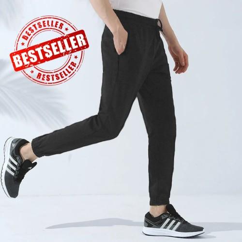 Foto Produk Jfashion Celana Panjang Jogger Training Pria dewasa Polos - Felix - Hitam, M dari j--fashion