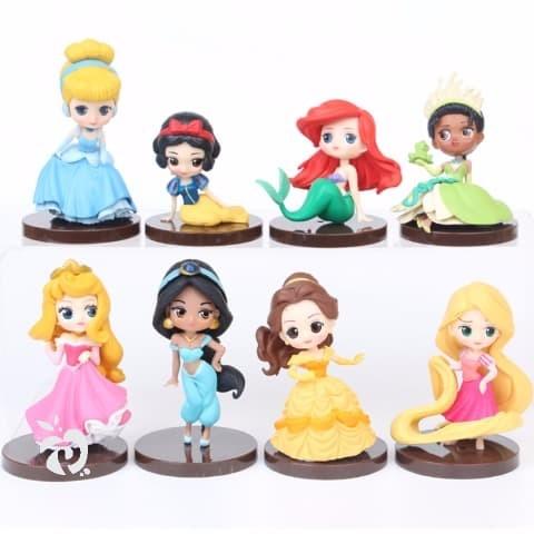 Foto Produk Princess Chibi Figure Set 8 Mainan Pajangan Miniatur Cake Topper FG365 dari Pinkberry Store