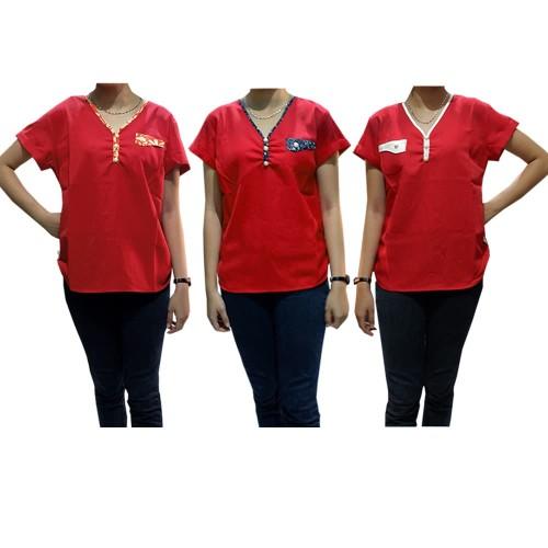 Foto Produk blouse merah fere motif CHN dari toko super murah