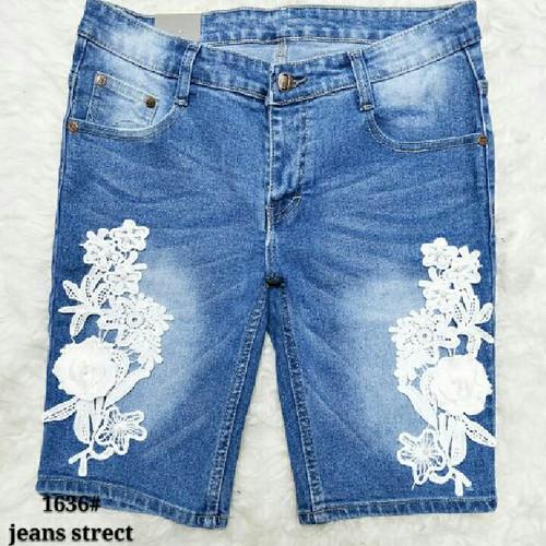 Foto Produk Mj-1636 jeans bunga 3/4 dari Bless-Shopp