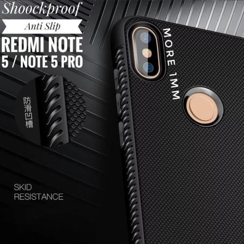 Foto Produk Shockproof Anti Slip Slim Black Matte Case Xiaomi Redmi Note 5 Pro - Dongker dari lapaklama