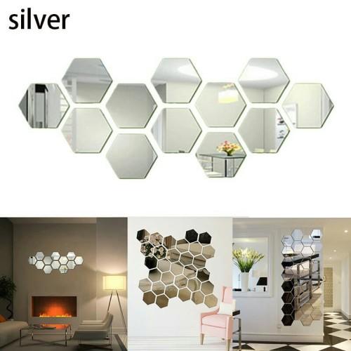 Foto Produk Cermin / Kaca Hexagonal / Segi Enam / Hiasan Dinding - 12pcs - Silver dari WIQNYO STORE