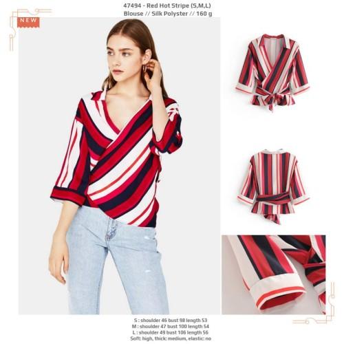 Foto Produk 47494 Red Hot Stripe Blouse / Blouse Garis Merah Putih dari XineShop