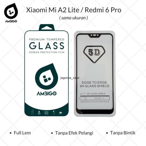 Foto Produk Tempered Glass 5D Xiaomi Mi A2 Lite / Redmi 6 Pro Full Cover Ambigo - Hitam dari Jagonya Case