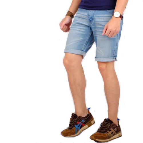 Foto Produk celana pendek jeans pria / short skinny jeans pria white stich - Biru Muda, 33 dari Brotherholicstore