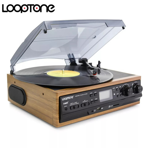 Foto Produk Turntable gramaphone vynil record bisa setel kaset dari BlackCode