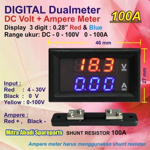 Foto Produk Voltmeter Amperemeter Digital 0-100V 100 Ampere + Shunt 75 mV 100A dari Mitra Abadi Spareparts