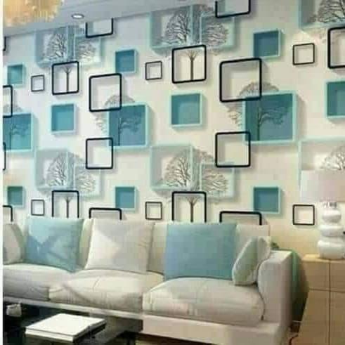 Foto Produk wallpaper / wallsticker dinding motif 3D biru 45 cm x 10 m dari jay acc